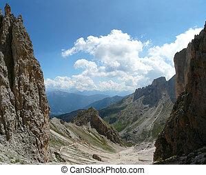 Dolomite landscape - View from Catinaccio mountain,...