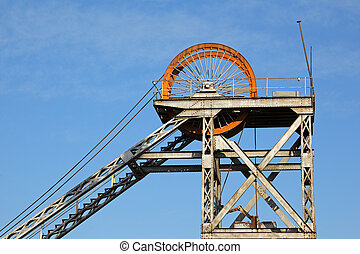 Mine shaft headgear - Old, disused mine shaft headgear with...