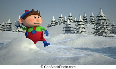 kids snowball fight - Cute Cartoon Kids having a Snowball...