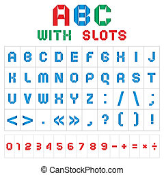 ABC font with slots, colored