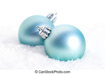 Two blue baubles