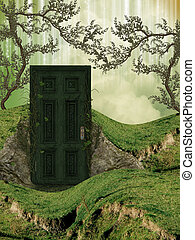 Magic door in the field with ivy