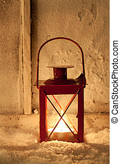 Lantern in the snow - Red lantern in the snow