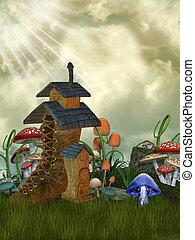 fairy house in the garden with mushrooms