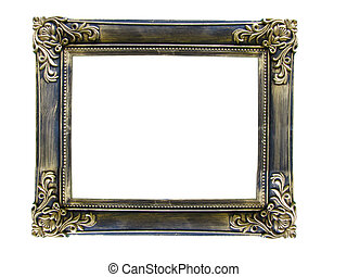 Vintage antique gold picture frame over white - Vintage...