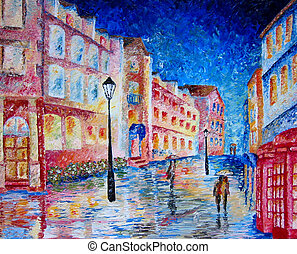 London. Rain. Street. Painting. - Art - oil painting of...