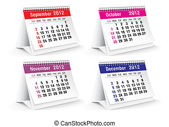 2012 desk calendar - vector illustration