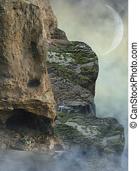 Fantasy Landscape in a cliff with fog