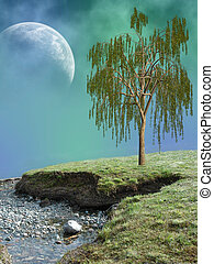 Fantasy Landscape in a lake with tree
