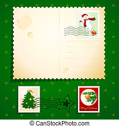 Christmas card - Customizable Christmas card with stamps,...