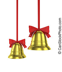 Two Christmas bells with red ribbons isolated on white...