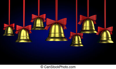 A lot of Christmas bells with red ribbons