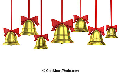 A lot of Christmas bells with red ribbons isolated on white...