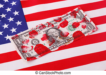 bloodstained one-dollar bill