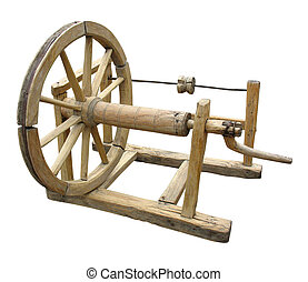 Old wooden spinning-wheel distaff isolated - Old manual...
