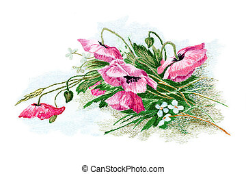 Floral background - Flowers, embroidered smoothness,...