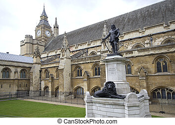 Statue of Oliver Cromwell in front of Westminster parliament...