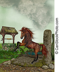 Horse - Fantasy Horse in a landscape with wishingwell