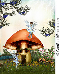fairytale in the forest with mushroom house