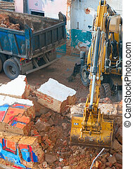 Demoliton - Digger and Truckload of Rubble in House Under...
