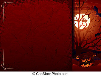 Poster with Halloween Pumpkins - Grunge Halloween Background