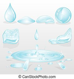 Forms of Water - Water Forms and Drops set, nature vector...