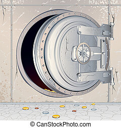 Opened Empty Bank Storage - Opened Bank Vault Door with an...