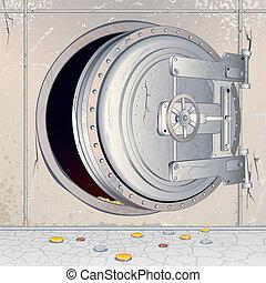 Opened Empty Bank Storage - Opened Bank Vault Door with an...