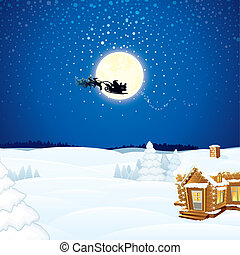 Christmas Scene with Flying Santa Sleigh and his Reindeer