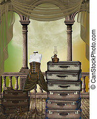 Fantasy room with suitcases curtains and dress
