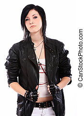Young punk girl over white background