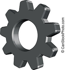 Cogwheel vector - 3D grey cogwheel vector on white...