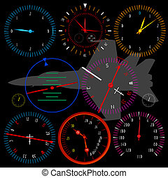 Modern airplane dashboard over black background, isolated...