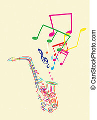 Saxophone with musical notes, abstract art