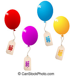 Discount balloons with price tags