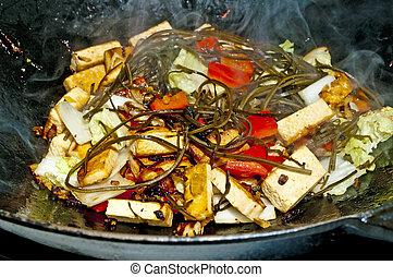 vegetales, chino,  wok