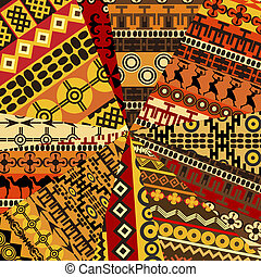 Collage of sample with ethnic motifs, abstract background