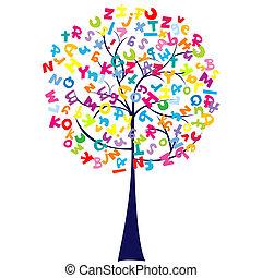 albero, lettere, alfabeto