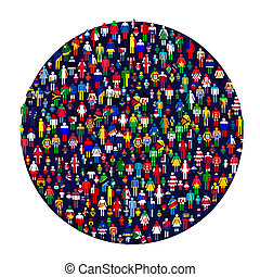 Circle full of colored people People made of flags