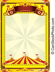 Big Top circus flyer - A yellow background with big top for...