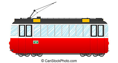 Vintage tram illustration, isolated object over white...
