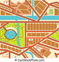 Seamless city map - Editable seamless tile of a generic city...