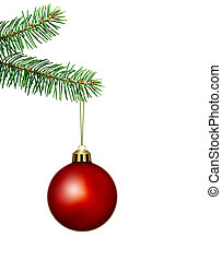 red christmas ball and fir branch