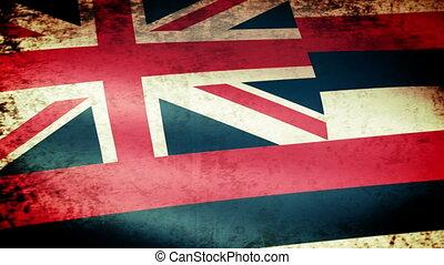 Hawaii State Flag Waving, grunge look