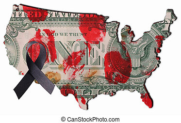 USA - The land of the USA with a bloodstained 1 dollar bill...