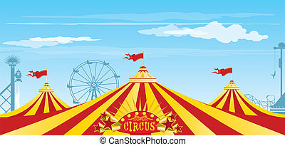 big top on the sky - Three big tops in a amusement Park.