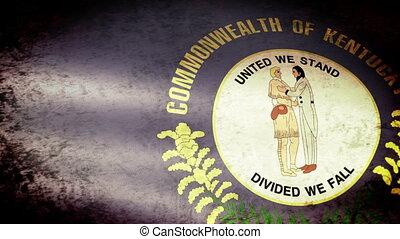 Kentucky State Flag Waving, grunge look