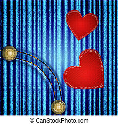 Vector jeans background with rivet