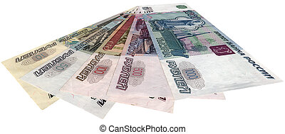 russian money (roubles) isolated on white background