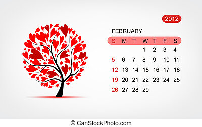 Vector calendar 2012, february. Art tree design